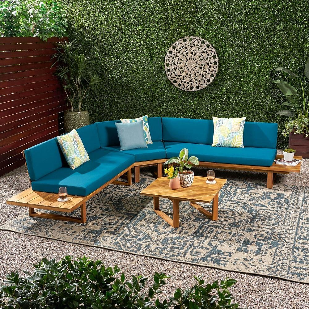 Noble House Mirabelle Teak Brown 4-Piece Wood Patio Conversation Sectional Seating Set with Dark Teal Cushions-70371