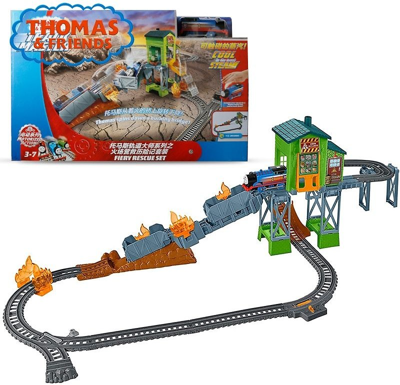 Thomas & Friends Electric Series Train Toys Railway Builder Set TrackMaster Fiery Rescue Adventure Toys FBK47 For Kid's Birthday