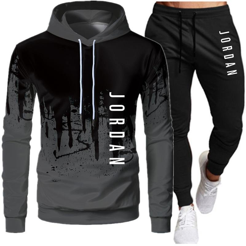 Tracksuit Men Hooded Sweatshirt+pants Pullover Hoodie Sportwear 2020