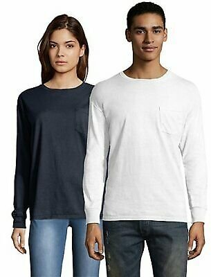 45% Off for Hanes T Shirt Long Sleeve Adult Pocket Tee ComfortWash Garment Dyed Womens Mens