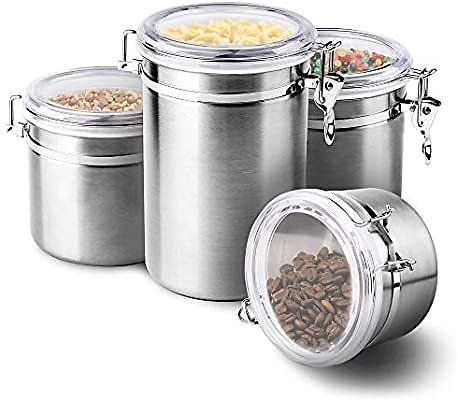 4-Piece Stainless Steel Airtight Canister Set, ENLOY Food Storage Container for Kitchen Counter, Tea, Sugar, Coffee, Caddy, Flou