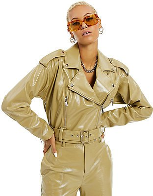 Danielle Bernstein Patent Faux-Leather Moto Jacket, Created for Macy's & Reviews - Jackets & Blazers - Women
