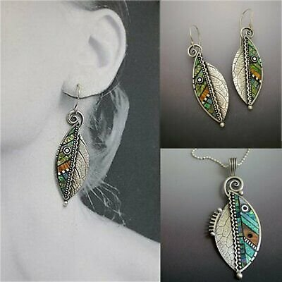 Fashion Boho Resin Green Leaf Pendants Necklace Jewelry Women Long Chain Gift