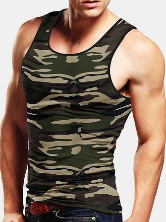 Mens Casual Camouflage Vest Loose Fit Tank TopsActivewearfromMen's Clothingon Banggood.com