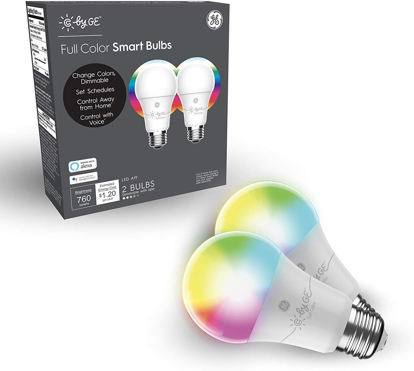 GE Lighting 93105377 C By GE LED A19 Full Color, Works with Alexa and Google Assistant, WiFi Enabled, 2-Pack Smart Light Bulb