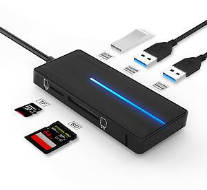 Ultra Type C Slim 3 Port USB 3.0 Data Hub Adapter Charger For TF SD Card Reader