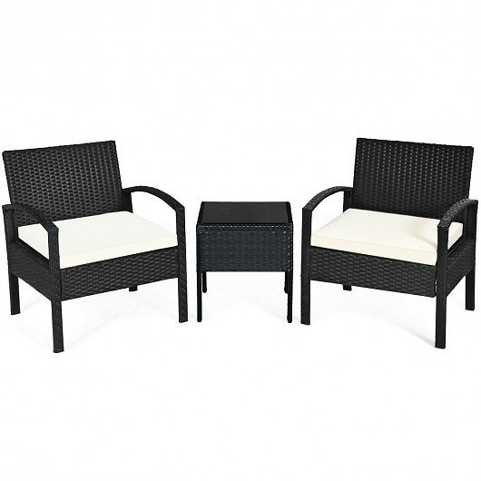 3-Piece Patio Rattan Furniture Set Sofa Cushioned Table Garden
