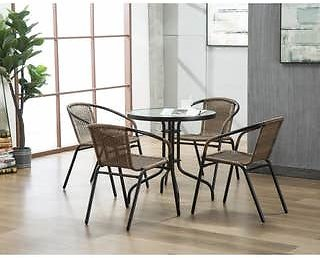 4 The Curated Nomad Clopin Indoor/Outdoor Rattan Chairs