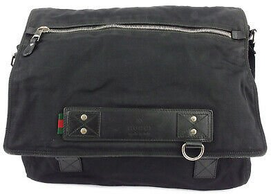 GUCCI Shoulder Bag Logo-based Nylon Canvas �~ Leather Auth Used T16964