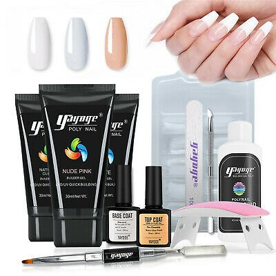 YAYOGE Poly Nail Gel Set with 3 Colors Arcylic Gel Home Use All-in-One Tools Kit | eBay