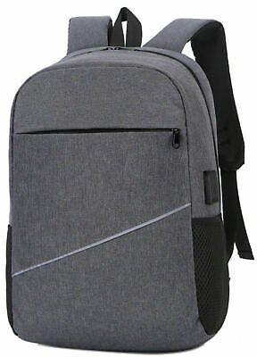 Mens Students School Canvas Backpack Casual Travel Bag USB Charger Notebook Bag