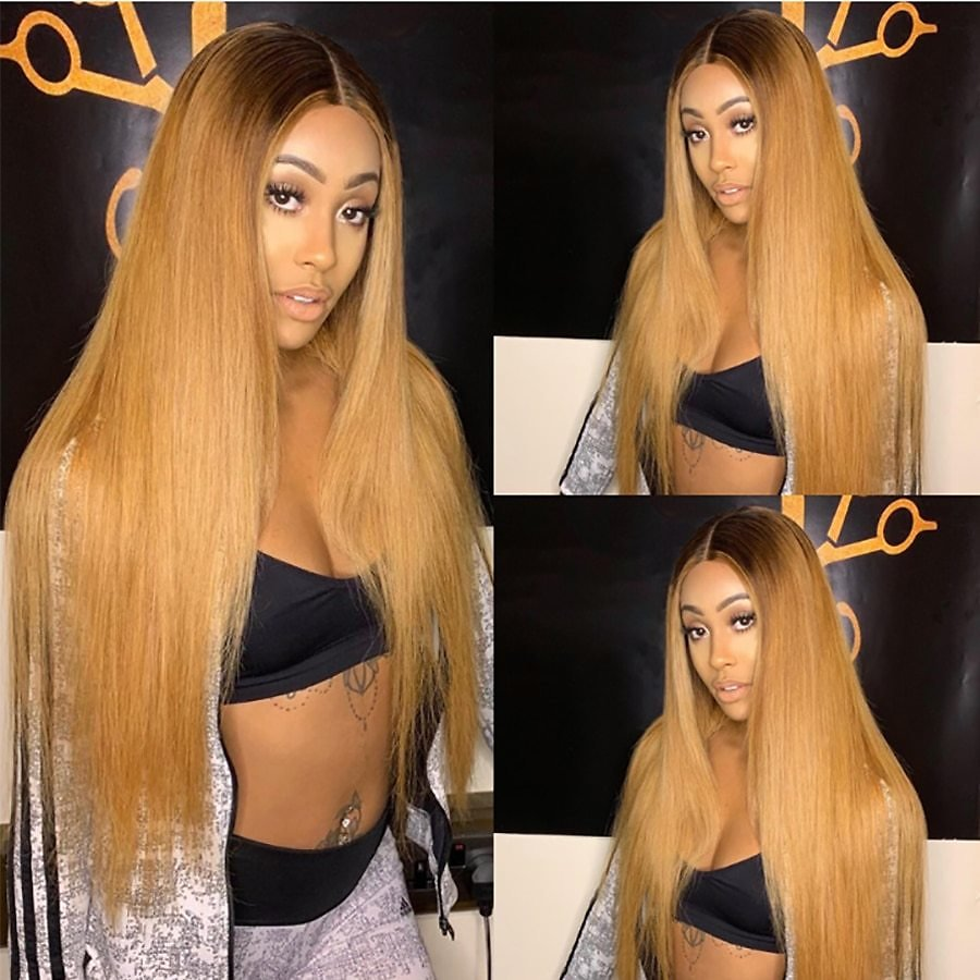13x6 1b/27 Lace Front Human Hair Wigs for Women Ombre Honey Blonde Lace Front Wig Straight Colored Human Hair Wig Brazilian Remy