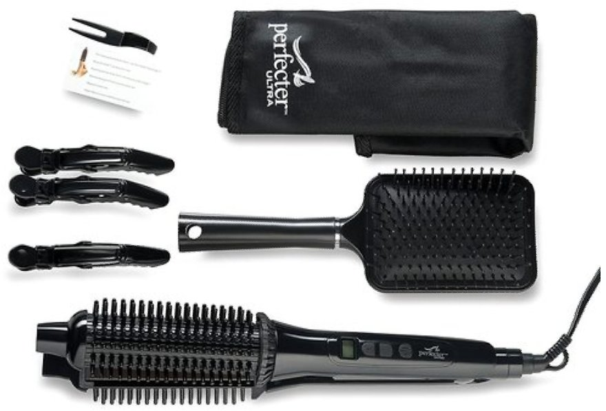 Perfecter Flat Iron Hair Straightener & Hot Round Brush 2-in-1 (Black) | BuyDig.com