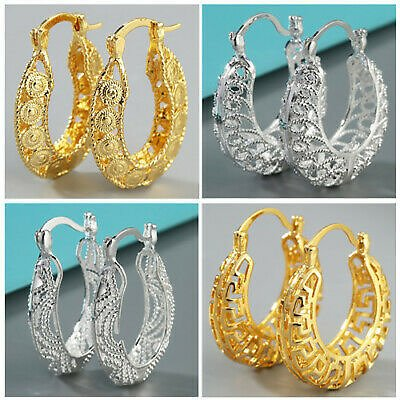 Fashion Hollow Out 925 Silver,Gold Hoop Earring for Women Jewelry A Pair/set