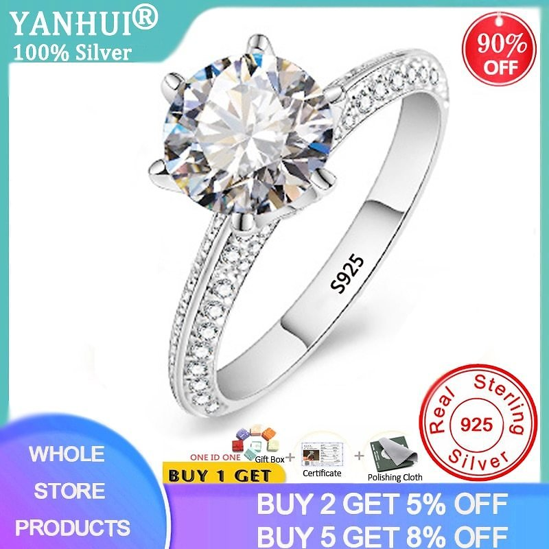 US $6.0 97% OFF|YANHUI Luxury 2.0ct Lab Diamond Wedding Engagement Rings for Bride 100% Real 925 Sterling Silver Rings Women Fine Jewelry RX279|Rings| - AliExpress