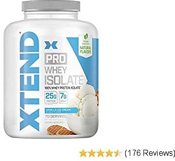 XTEND Pro Protein Powder Vanilla Ice Cream   100% Whey Protein Isolate   Keto Friendly + 7g BCAAs with Natural Flavors   Gluten Free Low Fat Post Workout Drink   5lbs