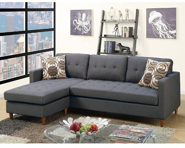 86-inch Reversible Sofa & Chaise Sectional W/Ottoman