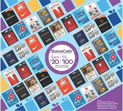 Earn $20 BonusCash W/ $100 of Participating Gift Cards Purchase - Rite Aid