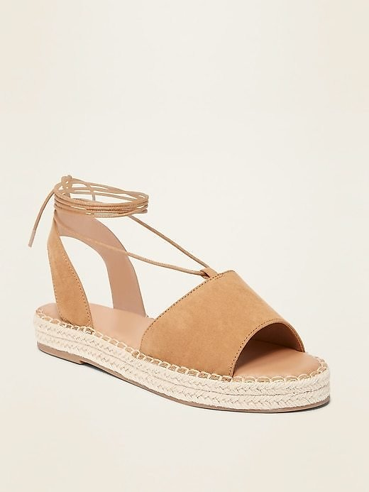 Faux-Suede Lace-Up Espadrille Flatform Sandals for Women | Old Navy