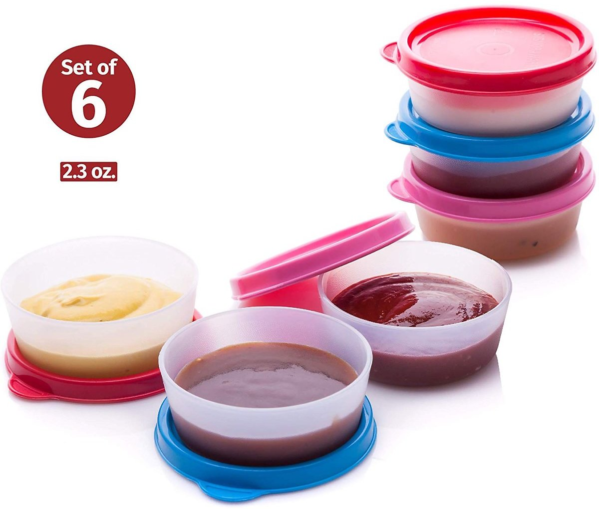 6 Pack Storage Containers with Lids Sauce Cups Leak Proof Reusable Plastic BPA Free 6 Pk. 2.3 Oz. for Lunch Box Picnic Travel
