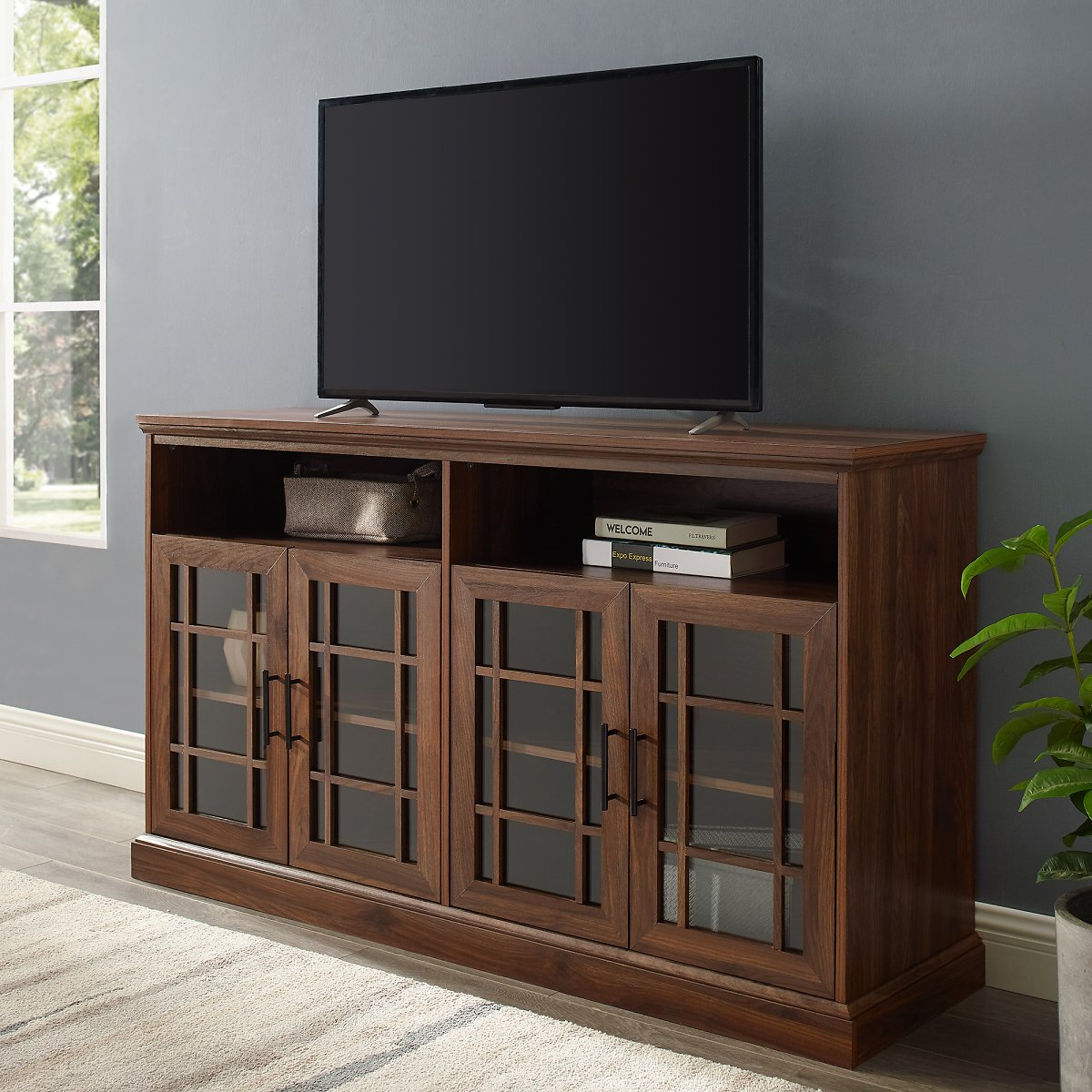 Manor Park Classic Glass Door TV Stand for TVs Up to 65