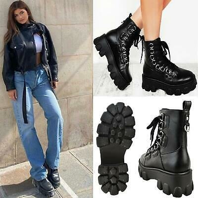 Womens Chunky Tread Sole Ankle Boots Ring Eyelets Lace Up Winter Fashion Shoes