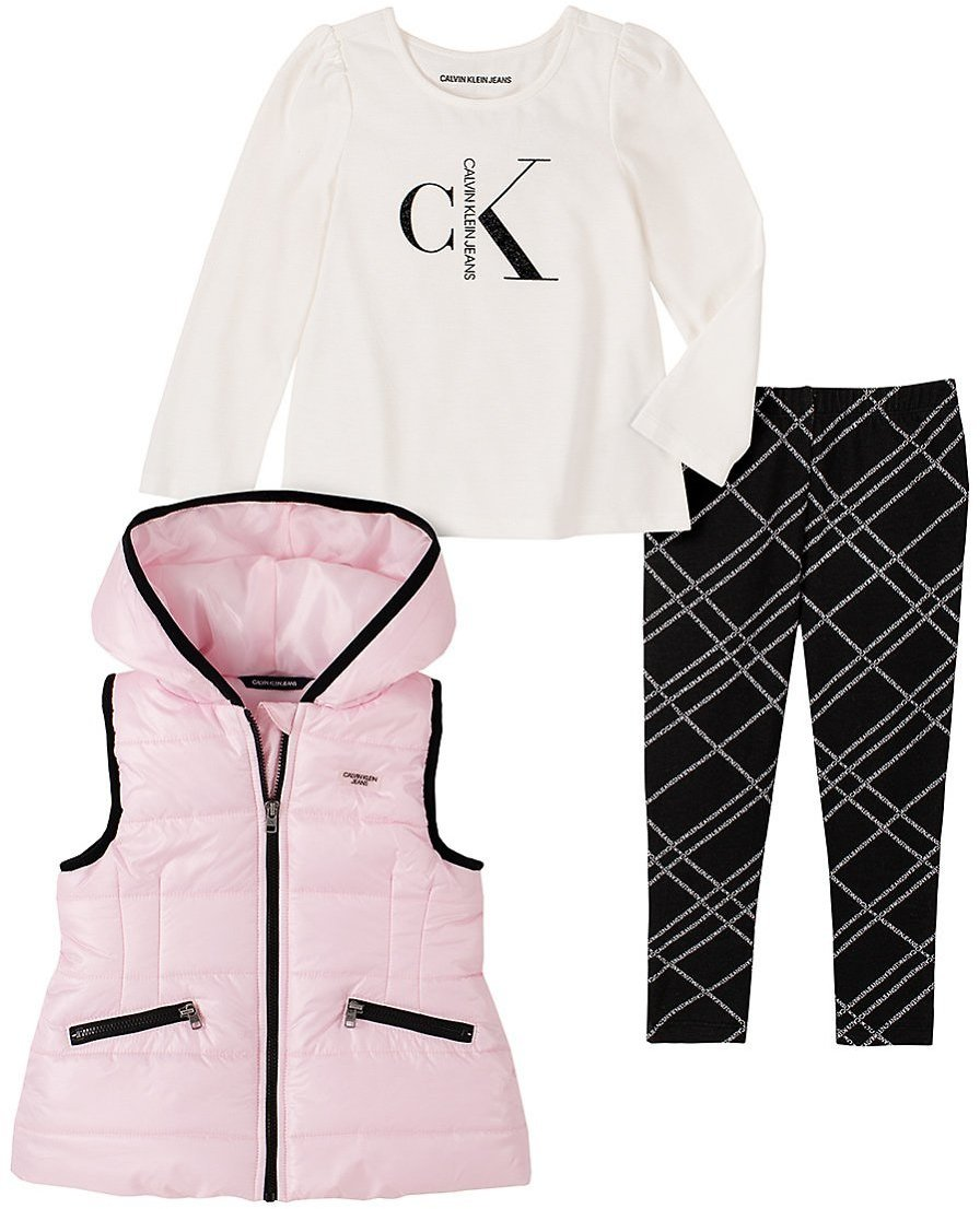 Love This Product Pink & Black Contrast-Trim Hooded Puffer Vest Set - Toddler & Girls
