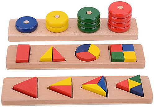 Montessori Teaching Tool Pegged Puzzle Math Toy 8-14 Pcs Compatible Wooden Legoing Cool Education Boys' Girls' Toy Gift / Kid's