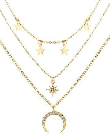 Moon Stars Pattern Pendant Multi-layer Necklace