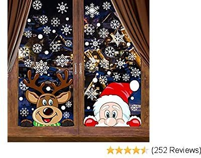 VEYLIN 6 Sheets 300 Pcs Christmas Window Clings, Snowflake Reindeer Santa Claus Window Stickers for Christmas