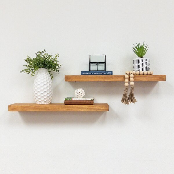 Evonne 2 Piece Pine Solid Wood Floating Shelf