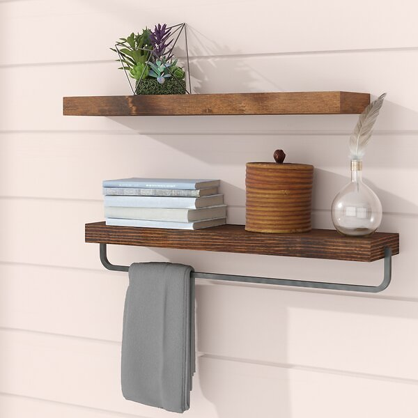 Drew 2 Piece Pine Floating Shelf