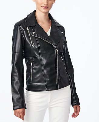 Collection B Juniors' Faux-Leather Moto Jacket, Created for Macy's & Reviews - Coats - Women