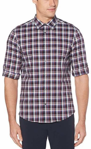 Untucked Roll Sleeve Check Stretch Shirt