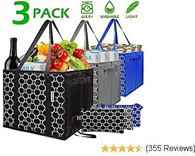 EXTRA 50% OFF Washable Reusable Grocery Bags Heavy Duty Shopping Bags with Zip Coin Purse,Collapsible Shopping Box Bags