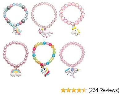 EXTRA 50% OFF Set of 6 Unicorn Rainbow Bracelets, Girl Animal Bracelets, Teens Kids Unicorn Pendant Beaded Bracelet Girl