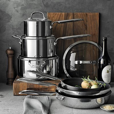 Professional Stainless-Steel Stratanium™ Nonstick 10-Piece Cookware Set+F/S
