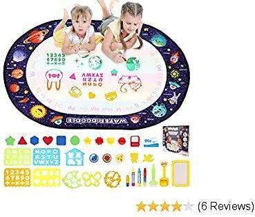 BBLIKE Magic Water Doodle Mat 40 X 28 Inches Large Size, 33PCS Aqua Magic Water Drawing Mat Coloring Doodle Mat for Kids Toddlers Boys Girls 3 4 5 6 + Years Old