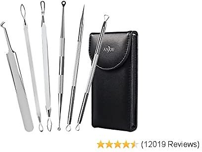 Blackhead Remover Comedone Extractor, Curved Blackhead Tweezers Kit, 11-Heads Professional Stainless