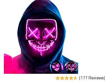 MeiGuiSha LED Halloween Purge Mask,Halloween Scary Cosplay Light Up Mask for Festival Parties