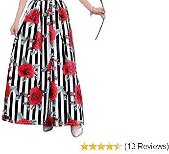 Women's Floral Aline Long Maxi Skirts with Pockets for Women Plus Size Sexy Cute High Waisted Flowy Casual Skirts