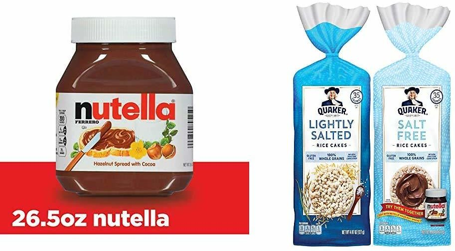 Nutella Chocolate Hazelnut Spread, 26.5 Ounce (Pack of 1) & Quaker Large Rice Cakes, Gluten Free, Lightly Salted + Salt Free Variety Pack, 6 Count