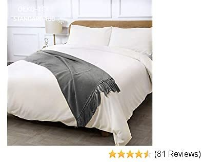 CO-Z 100% Washed Cotton Duvet Cover 3 Pieces Bedding Sets Solid Color Ivory White Full / Queen Size (90x90 Inches)- Modern Simple Style Ultra Soft Breathable Comforter Cover with Zipper Closure