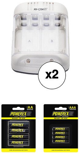 Powerex Smart Charger and Precharged Rechargeable AA and AAA Battery Kit