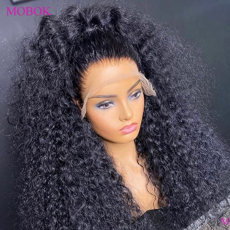 Deep Curly Lace Front Wig 4x4 Closure Wig 180% Remy Brazilian 360 Lace Wig Curly Lace Front Human Hair Wigs Pre Plucked