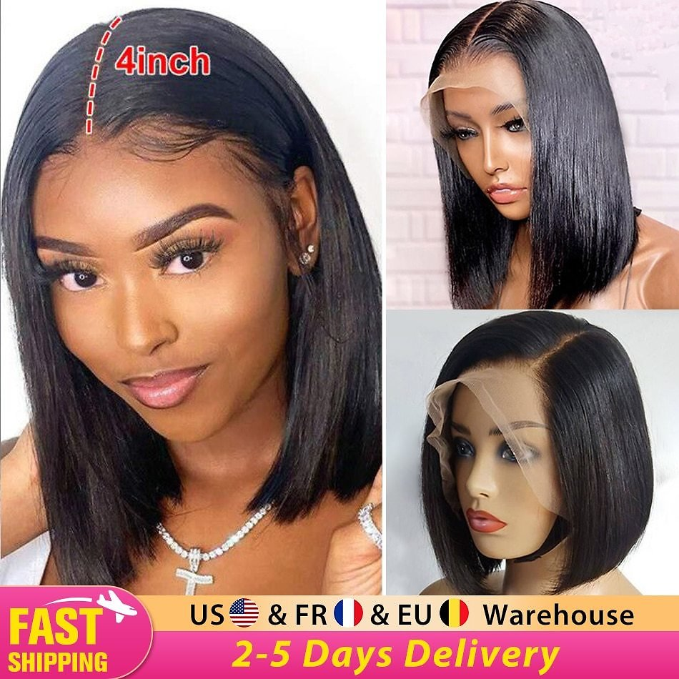 13x4 Straight Bob Wig Lace Front Human Hair Wig Pre Plucked with Baby Hair Brazilian Remy Hair Frontal Short Bob Wig Black Women