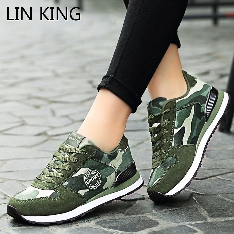 US $9.33 54% OFF|LIN KING New Camouflage Women Casual Sneakers Lace Up Unisex Canvas Shoes Non Slip Outdoor Single Shoes For Couples Plus Size 44|Women's Vulcanize Shoes| - AliExpress