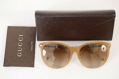 Gucci GG3777/F/S Light Brown GG Bamboo Gradient Round Frame Sunglasses NEW $390