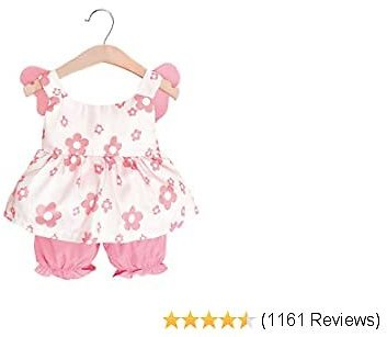 Newborn Baby Girl Clothes Flare Sleeve Romper + Floral Short Pants 2pcs Summer Outfit Set