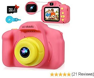 LC-dolida Kids Camera for Girls Boys- Selfie Camera HD 1080P Video for Kid Age 5 6 7 8 9 Year Old Children Toddler Toy Rechargeable Birthday Presents Gifts Ideas 32G SD Card (Pink)